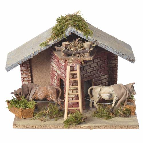 Animated setting 8-10cm oxen 24x16x21cm s1