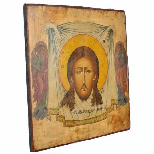Antique Russian Icon Christ Acheiropoieta 50x45cm XIX century s2