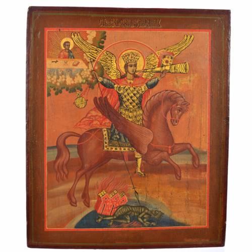 Antique Russian icon, Saint Michael Archangel XIX century s1
