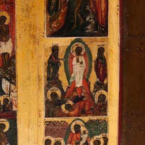 Antique Russian icon, Sixteen Great Feasts, Mstjora XIX century s7