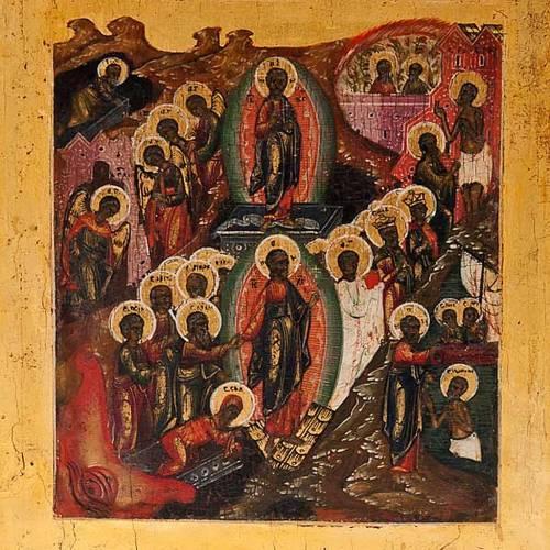 Antique Russian icon, Sixteen Great Feasts, Mstjora XIX century s2