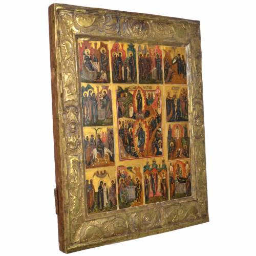 Antique Russian icon with Basma, 12 Great Feasts XIX century s2