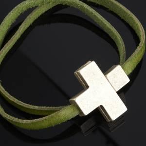 Sonstige Armbände: Armband aus Leder mit Kreuz, 39cm