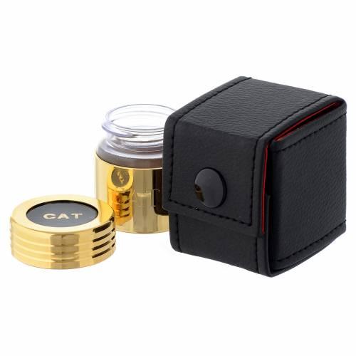 Astuccio e vasetto in vetro dorato olio catecumeni s2