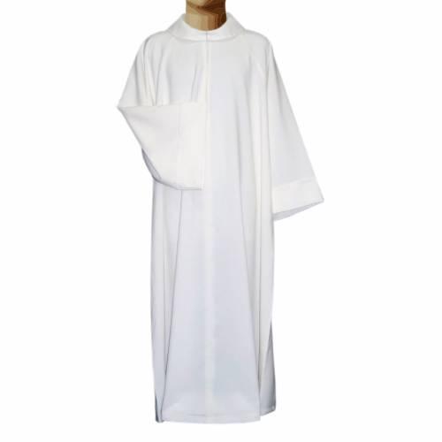 Aube liturgique blanche évasée faux capuche polièster coton s1