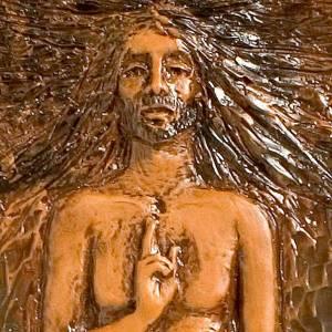 Kreuzweg: Auferstehende Kristus 15en Station Maiolika Leder auf braunen Ho