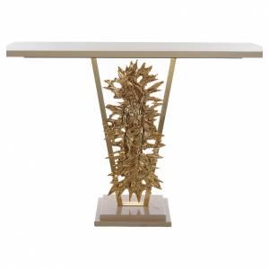 Autel laiton moulé Christ Ressuscité base marbre 102x150x60 cm s1