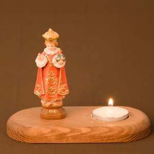 Candle holders: Baby Jesus of Prague on wooden base