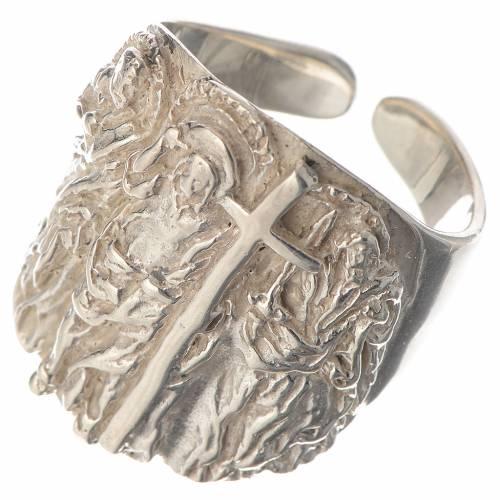 Bague épiscopale argent 925 Jésus s3