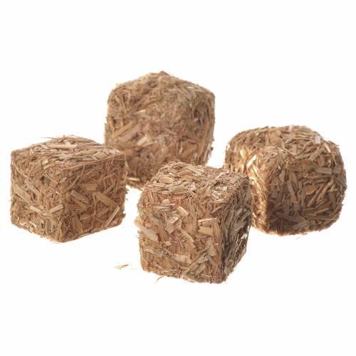 Balle di paglia presepe set 4 pz 2x2x2,5 cm s2