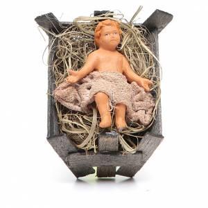 Presepe Napoletano: Bambinello in culla di legno 14 cm presepe napoletano