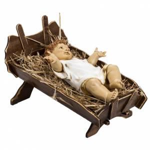 Statue per presepi: Bambinello vestito e culla in legno 125 cm Fontanini