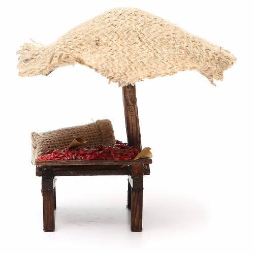 Banc de marché crèche avec parasol et piments 16x10x12 cm s4