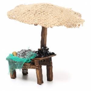 Banc de marché crèche avec parasol sardines et moules 16x10x12 cm s2