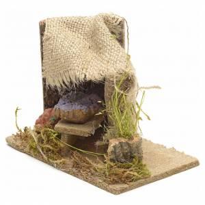 Cibo in miniatura presepe: Banchetto di verdure con tenda ambientazione presepe