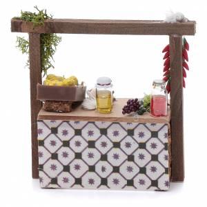 Cibo in miniatura presepe: Banco aglio e peperoncino per presepe 10x10x5 cm
