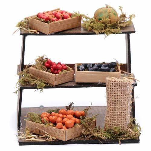 Banco di frutta e verdura 10x10x10 cm presepe napoletano s1