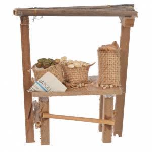 Cibo in miniatura presepe: Banco legno cereali olive cera presepe 9x10x4,5 cm