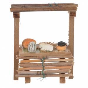 Cibo in miniatura presepe: Banco legno formaggi cera presepe 9x10x4,5 cm
