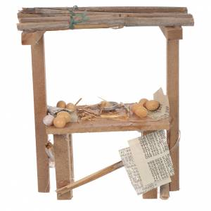 Cibo in miniatura presepe: Banco legno uova cera presepe 9x10x4,5 cm