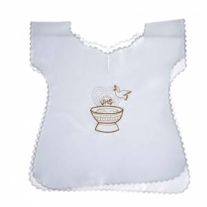 Baptism clothes and candles: Baptismal gown in satin with IHS and baptismal font