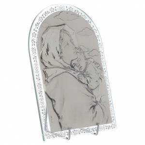 Bas reliefs en argent: Bas-relief argent Vierge du Ferruzzi cadre en verre