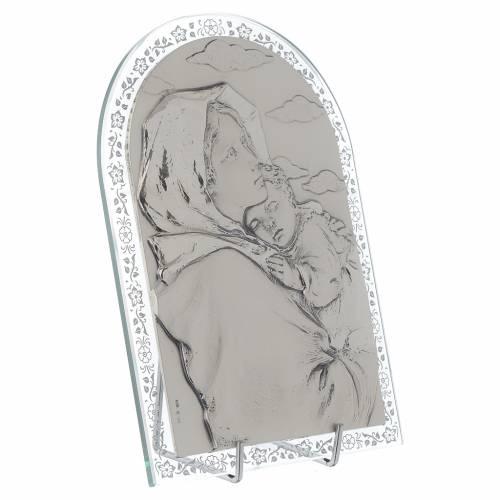 Bas-relief argent Vierge du Ferruzzi cadre en verre s2