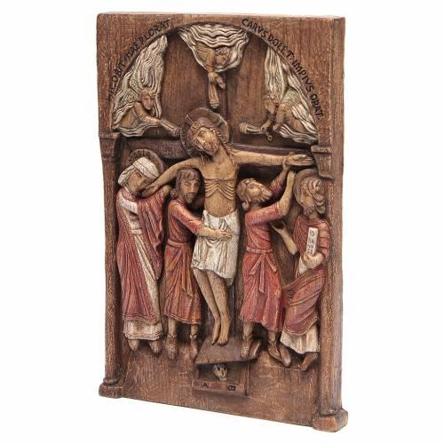 Bas relief de Crucifixion de Silos 37x24 cm bois Bethléem s3