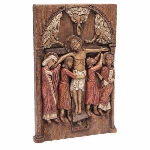 Bas relief de Crucifixion de Silos 37x24 cm bois Bethléem s2