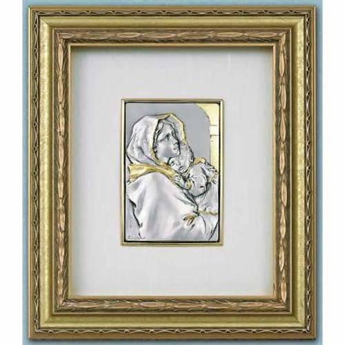 Bas relief en argent et or vierge du Ferruzzi or sur bois s1
