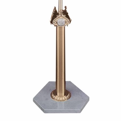 Base pour croix de procession laiton moulé et marbre de Trani s1