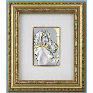 Silber Basreliefs: Basrelief Jungfrau Ferruzzi, silberweiss und gold auf Holz