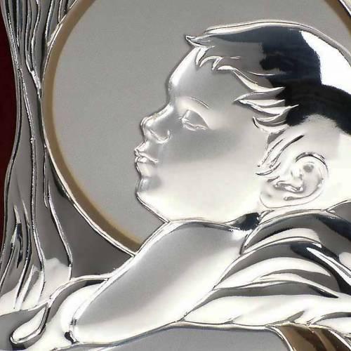 Bassorilievo bilaminato argento oro Maria con bimbo rettangolare s4