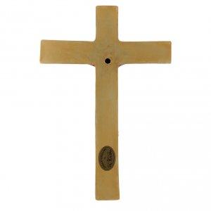 Bassorilievo Pinton porcellana crocifisso tunicato rosso croce dorata 25X17 cm s3