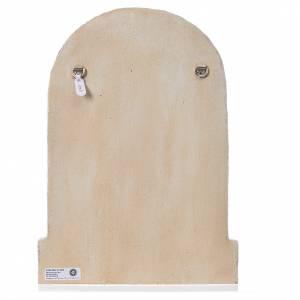 Bassorilievo Sacra Famiglia pietra chiara dipinto vesti marrone s4