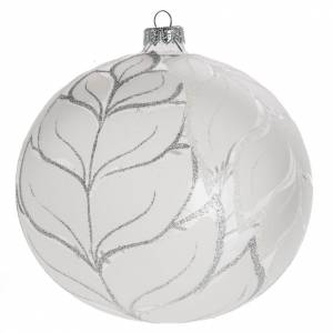 Bauble for Christmas tree in glass, silver 15cm s1