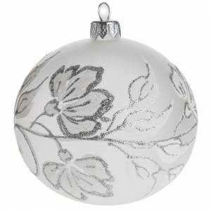 Christmas balls: Bauble for Christmas tree, silver and white blown glass, 10cm