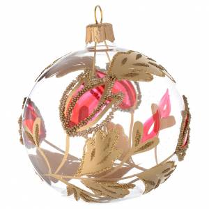 Christmas balls: Bauble in blown glass with red and gold decoration in relief 80mm
