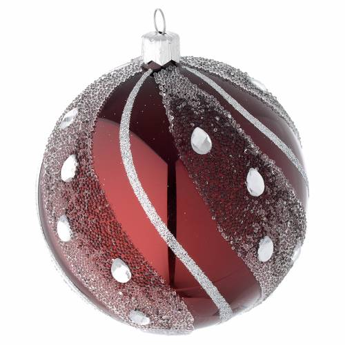 Bauble in burgundy blown glass with silver decoration 100mm s2