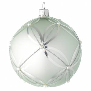 Christmas balls: Bauble in sage green blown glass with pearls 100mm