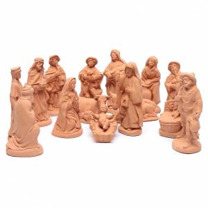 Belén terracota Deruta: Belén terracota natural 15 figuras 20 cm