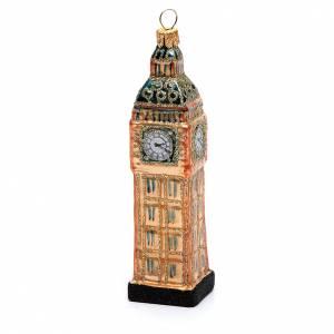 Adornos de vidrio soplado para Árbol de Navidad: Big Ben Londres adorno vidrio soplado Árbol de Navidad