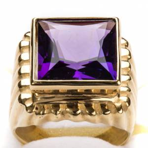 Bishop Ring in gold plated silver 800 with amethyst s6