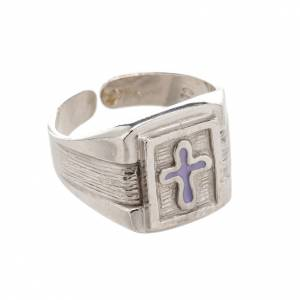 Bishop's items: Bishop Ring in silver 800 with enamel cross