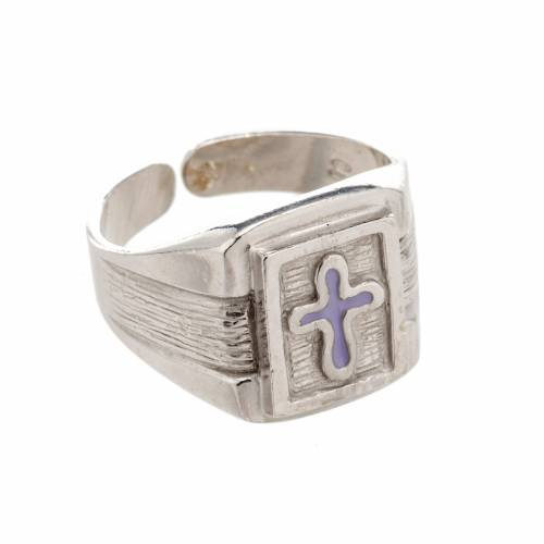 Bishop Ring in silver 800 with enamel cross s1