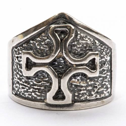Bishop Ring made of silver 800 with cross s3