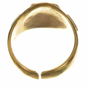 Bishop's ring, golden 800 silver with enamelled Tau s4