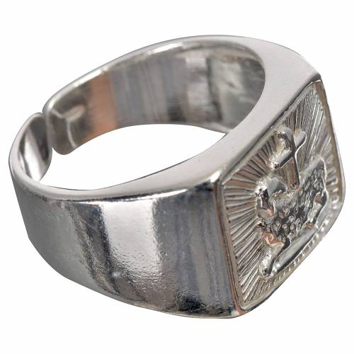 Bishop's ring in 800 silver, polished, with lamb s2