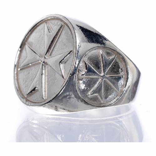 Bishop's ring in 800 silver with Maltese cross s5