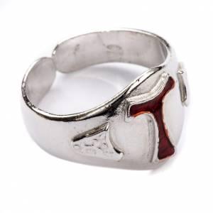 Bishop's Ring in silver 800, Enamel Tau s1